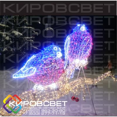 Снегири - объемная светодиодная композиция