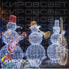 Снеговик-музыкант - объемная светодиодная фигура